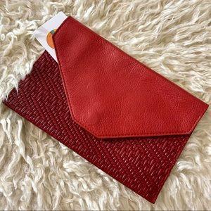 VTG Red Leather Envelope Passport Wallet Clutch